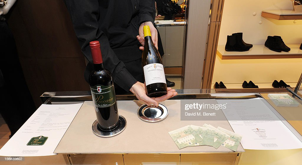 Tuscan Wines from Tenuta di San Fabiano are served during 'Tod's Vendanges on Bond' at the Tod's Bond Street Boutique on November 22, 2012 in London, England.