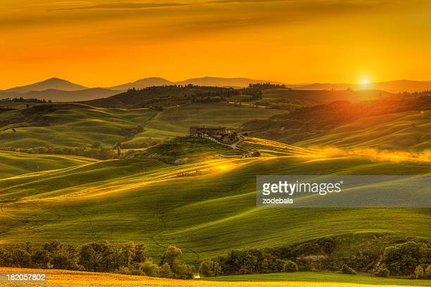 Tuscany Farmhouse at Sunset in Val d'Orcia