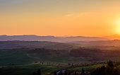 Tuscany landscape near Montepulciano and Pienza, Siena
