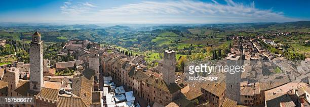 Tuscany market day in San Gimignano towers rooftops panorama Italy