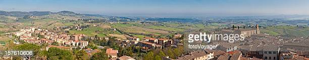 Tuscany picturesque hill town homes villas panorma San Gimignano Italy