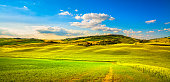 Tuscany spring, Pienza italian medieval village and countryside. Siena, Italy.