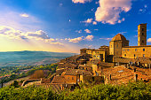 Tuscany, Volterra town skyline, church and panorama view on sunset. Maremma, Italy, Europe