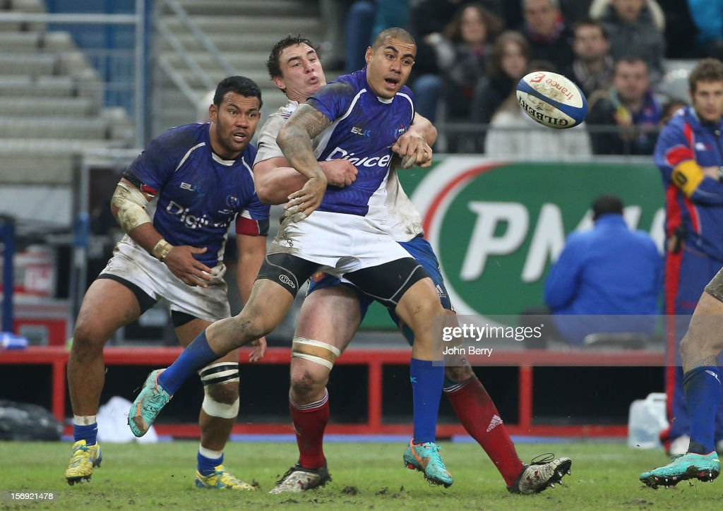 <a gi-track='captionPersonalityLinkClicked' href=/galleries/search?phrase=Tusi+Pisi&family=editorial&specificpeople=820483 ng-click='$event.stopPropagation()'>Tusi Pisi</a> of Samoa in action during the Rugby Autumn International between France and Samoa at the Stade de France on November 24, 2012 in Paris, France.
