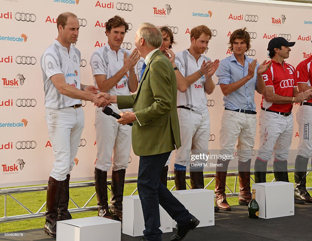 Tusk CEO Charlie Mayhew (3L) congratulates Team Audi Ultra members Prince William, Duke of Cambridge, Luke Tomlinson, Mark Tomlinson, Prince Harry and William Melville-Smith and Team Audi Quattro member Freddie Mannix during day one of the Audi Polo Challenge at Coworth Park on May 28, 2016 in London, England.