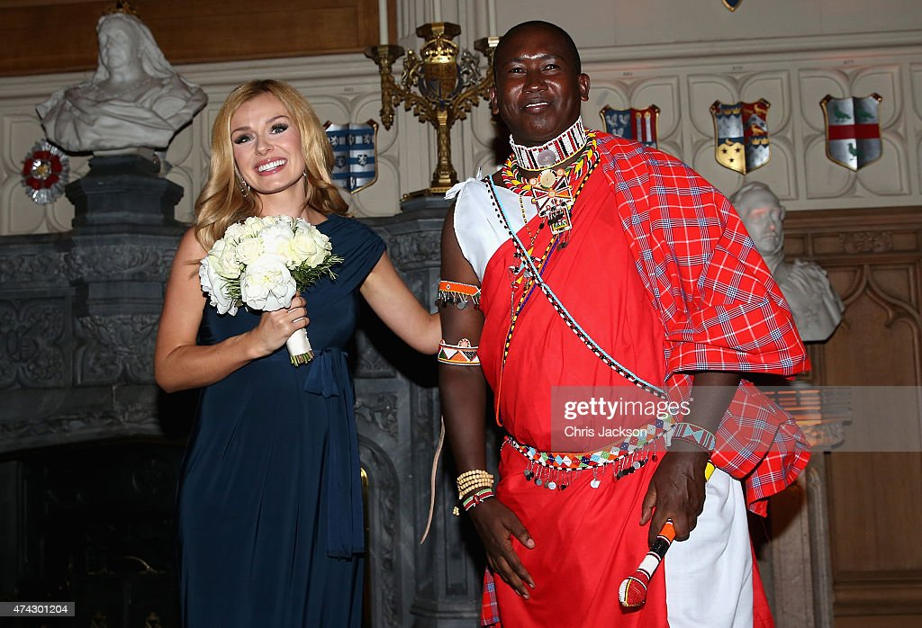 Tusk Conservation Award Winner Tom Lalampaa and Katherine Jenkins attends a reception and dinner to mark the 25th anniversary of Tusk Trust at Windsor Castle on May 21, 2015 in Windsor, England. The reception and dinner took place in the presence of the Royal Patron of Tusk Prince William, Duke of Cambridge. Tusk is a conservation charity which aims to address the greatest challenges faced by Africa's wildlife and people.
