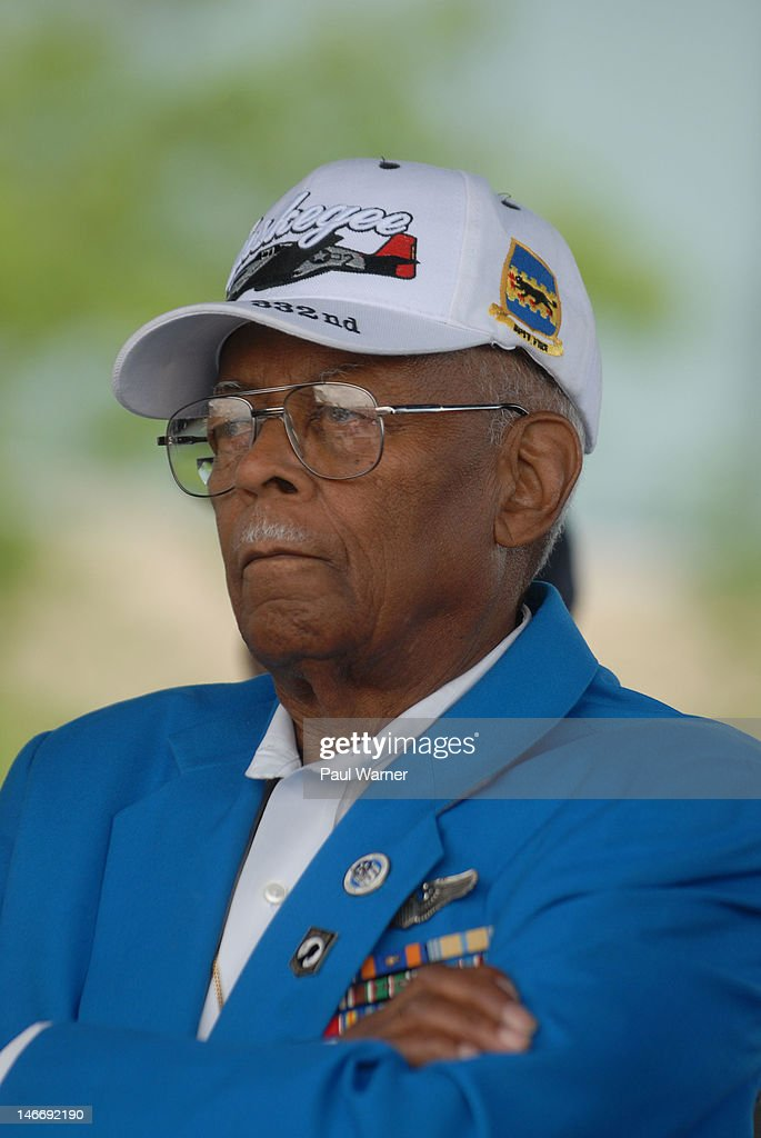 Tuskegee Airman Alexander Jefferson attends the opening ceremony and salute to the Airmen for the 2012 Detroit River Days Festival at the Detroit RiverWalk on June 22, 2012 in Detroit, Michigan.