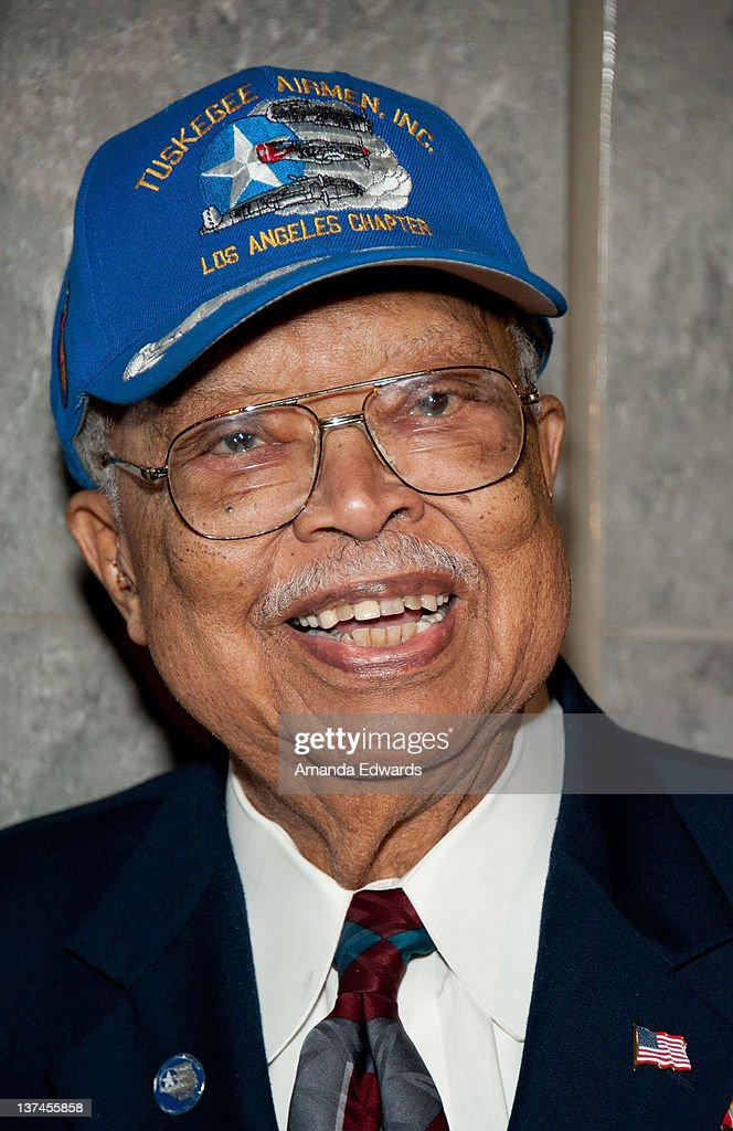 Tuskegee Airman Louis Hill attends the 'Red Tails' VIP opening night screening at Rave Baldwin Hills 15 Theatres on January 20 2012 in Los Angeles...