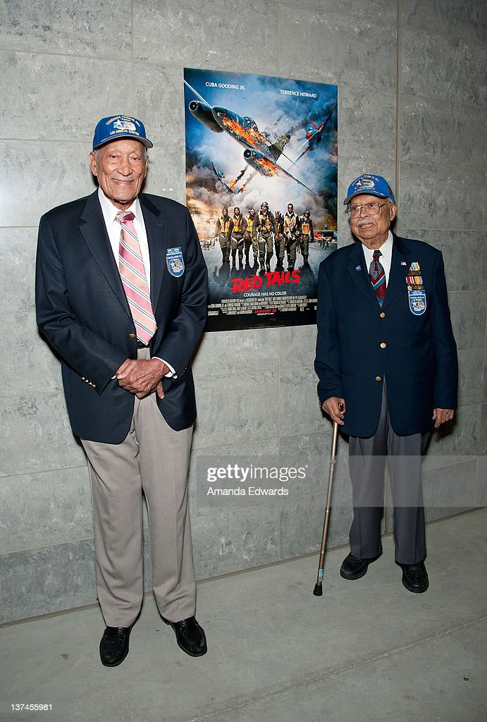 Tuskegee Airmen Jerry T Hodges and Louis Hill attend the 'Red Tails' VIP opening night screening at Rave Baldwin Hills 15 Theatres on January 20 2012...