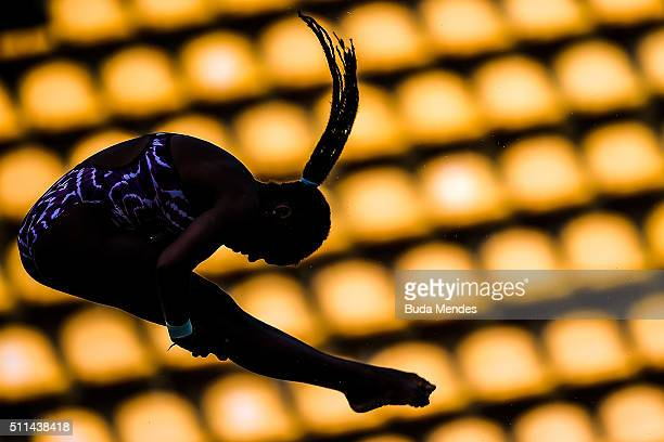 Tuti Garcia Navarro of Cuba competes in the women's 10m springboard as part of the 2016 FINA Diving World Cup at Maria Lenk Aquatics Centre on...