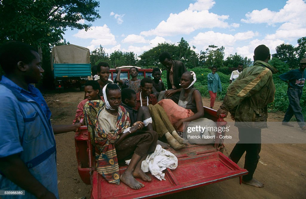 Tutsis who survived the Nyanza massacre, in which 150 were killed, during the civil war in Rwanda.