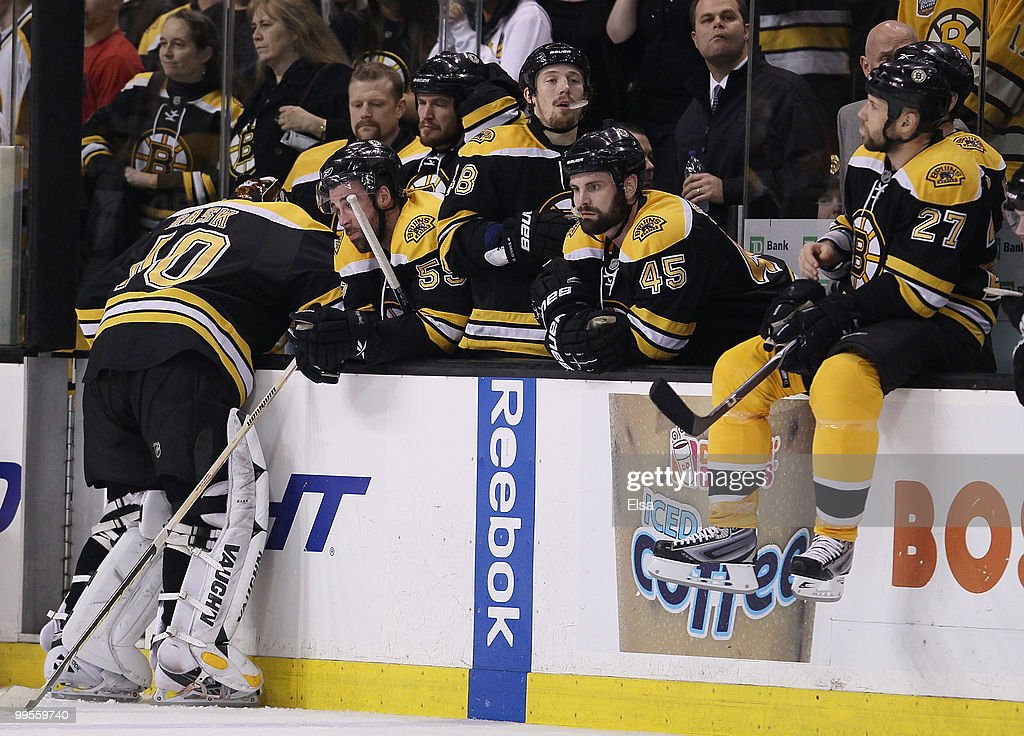<a gi-track='captionPersonalityLinkClicked' href=/galleries/search?phrase=Tuukka+Rask&family=editorial&specificpeople=716723 ng-click='$event.stopPropagation()'>Tuukka Rask</a> #40 and the rest of the Boston Bruins react as the Philadelphia Flyers celebrate the win in Game Seven of the Eastern Conference Semifinals during the 2010 NHL Stanley Cup Playoffs at TD Garden on May 14, 2010 in Boston, Massachusetts. The Flyers defeated the Bruins 4-3.