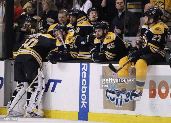 Tuukka Rask and the rest of the Boston Bruins react as the Philadelphia Flyers celebrate the win in Game Seven of the Eastern Conference Semifinals...