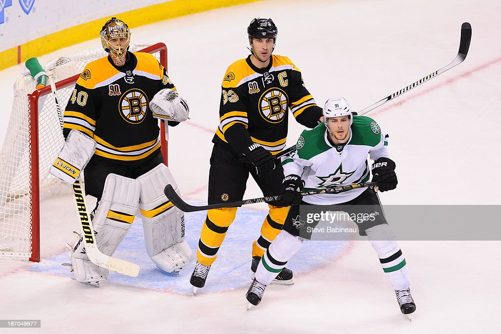 <a gi-track='captionPersonalityLinkClicked' href=/galleries/search?phrase=Tuukka+Rask&family=editorial&specificpeople=716723 ng-click='$event.stopPropagation()'>Tuukka Rask</a> #40 and <a gi-track='captionPersonalityLinkClicked' href=/galleries/search?phrase=Zdeno+Chara&family=editorial&specificpeople=203177 ng-click='$event.stopPropagation()'>Zdeno Chara</a> #33 of the Boston Bruins watch the play against <a gi-track='captionPersonalityLinkClicked' href=/galleries/search?phrase=Tyler+Seguin&family=editorial&specificpeople=6698848 ng-click='$event.stopPropagation()'>Tyler Seguin</a> #91 of the Dallas Stars at the TD Garden on November 5, 2013 in Boston, Massachusetts.