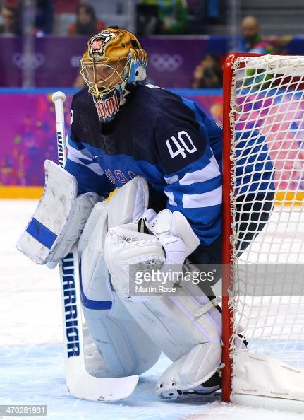 Tuukka Rask of Finland tends the net during the Men's Ice Hockey Quarterfinal Playoff against Russia on Day 12 of the 2014 Sochi Winter Olympics at...