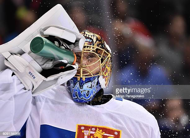 Tuukka Rask of Team Finland cools down between plays against Team Sweden during the World Cup of Hockey 2016 at Air Canada Centre on September 20...