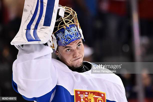 Tuukka Rask of Team Finland looks on after a 20 loss to Team Sweden during the World Cup of Hockey 2016 at Air Canada Centre on September 20 2016 in...