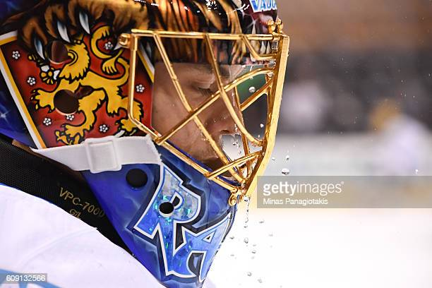Tuukka Rask of Team Finland warms up prior to a game against Team Sweden during the World Cup of Hockey 2016 at Air Canada Centre on September 20...