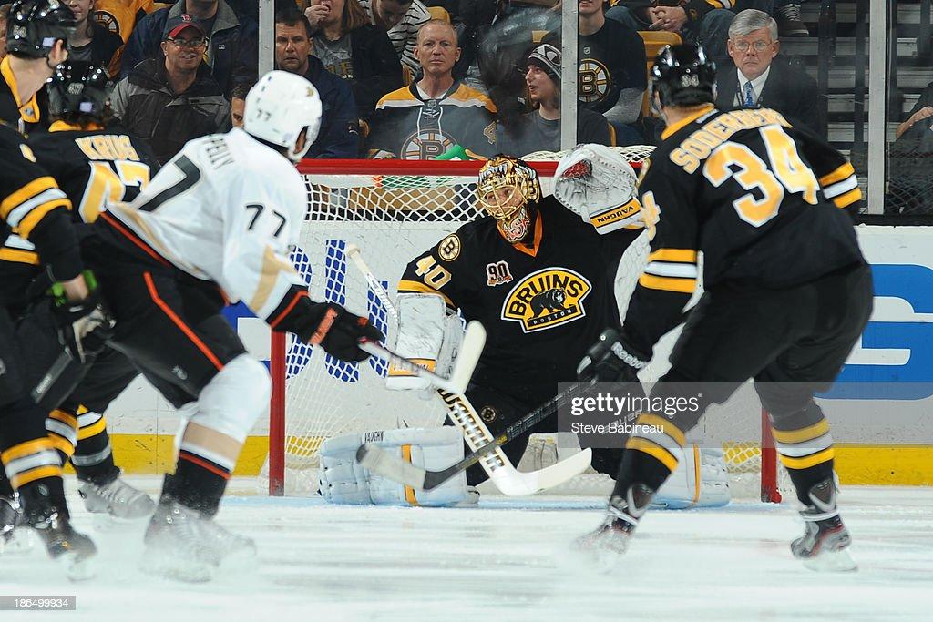 Tuukka Rask #40 of the Boston Bruins allows a goal to the Anaheim Ducks at the TD Garden on October 31, 2013 in Boston, Massachusetts.