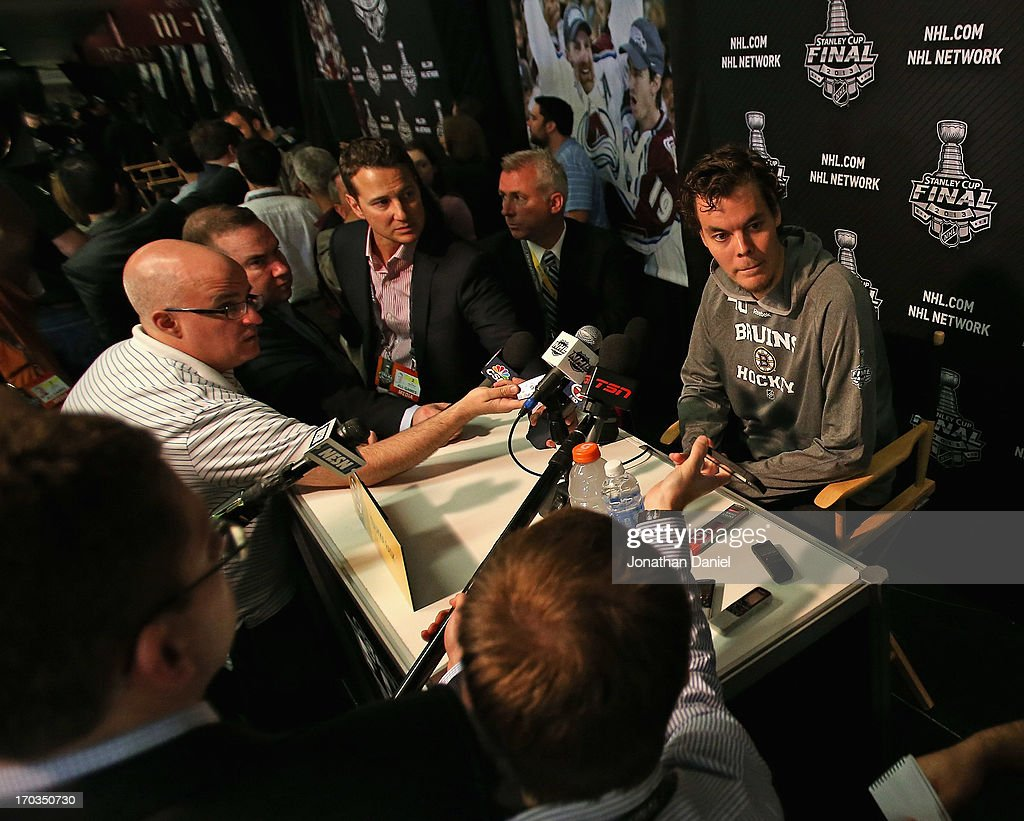 <a gi-track='captionPersonalityLinkClicked' href=/galleries/search?phrase=Tuukka+Rask&family=editorial&specificpeople=716723 ng-click='$event.stopPropagation()'>Tuukka Rask</a> #40 of the Boston Bruins answers questions during the 2013 NHL Stanley Cup media day at the United Center on June 11, 2013 in Chicago, Illinois.
