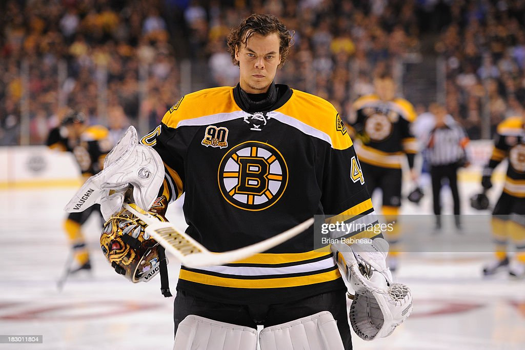 <a gi-track='captionPersonalityLinkClicked' href=/galleries/search?phrase=Tuukka+Rask&family=editorial&specificpeople=716723 ng-click='$event.stopPropagation()'>Tuukka Rask</a> #40 of the Boston Bruins before the game against the Tampa Bay Lightning at the TD Garden on October 3, 2013 in Boston, Massachusetts.