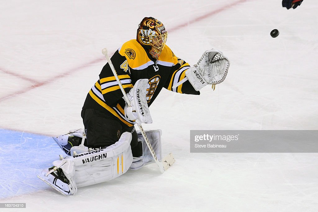 <a gi-track='captionPersonalityLinkClicked' href=/galleries/search?phrase=Tuukka+Rask&family=editorial&specificpeople=716723 ng-click='$event.stopPropagation()'>Tuukka Rask</a> #40 of the Boston Bruins catches the puck against the Florida Panthers at the TD Garden on March 14, 2013 in Boston, Massachusetts.