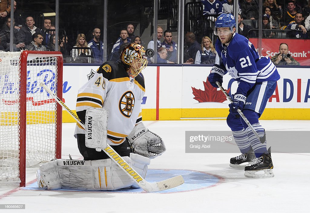 Tuukka Rask #40 of the Boston Bruins defends the goal against James van Riemsdyk #21 of the Toronto Maple Leafs during NHL game action February 2, 2013 at the Air Canada Centre in Toronto, Ontario, Canada.