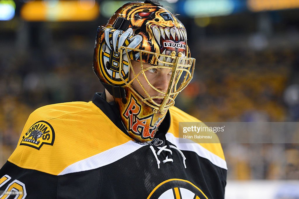 Tuukka Rask #40 of the Boston Bruins during warm ups prior to the game against the New York Rangers in Game Five of the Eastern Conference Semifinals during the 2013 NHL Stanley Cup Playoffs at TD Garden on May 25, 2013 in Boston, Massachusetts.