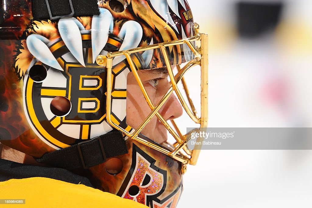 Tuukka Rask #40 of the Boston Bruins during warm ups prior to the game against the New Jersey Devils at the TD Garden on October 26, 2013 in Boston, Massachusetts.