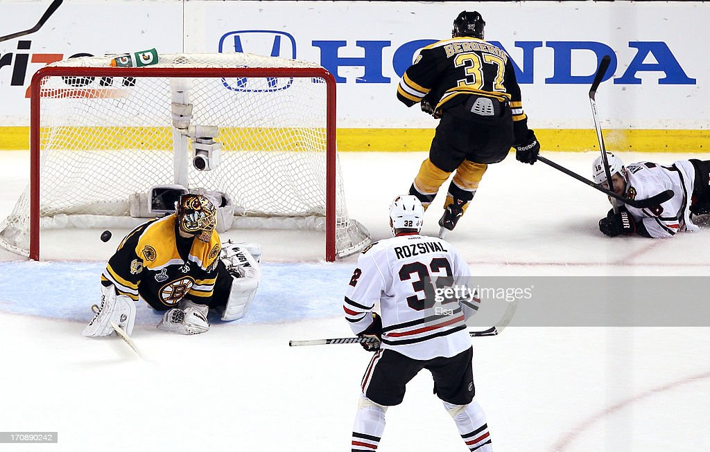 Tuukka Rask #40 of the Boston Bruins fails to make a save against Marcus Kruger #16 of the Chicago Blackhawks during the second period in Game Four of the 2013 NHL Stanley Cup Final at TD Garden on June 19, 2013 in Boston, Massachusetts.