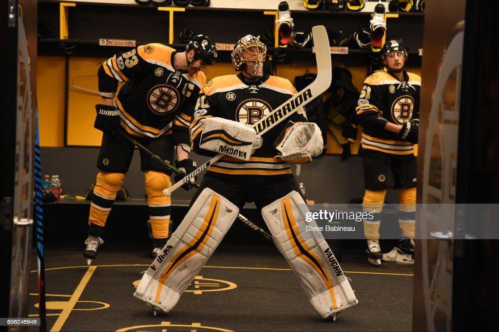 Tuukka Rask #40 of the Boston Bruins gets ready to head out to warm up before the game against the Ottawa Senators at the TD Garden on March 21, 2017 in Boston, Massachusetts.