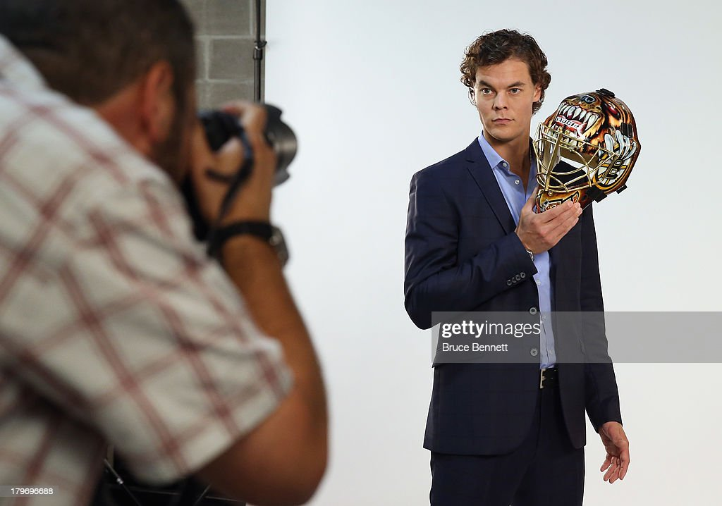 Tuukka Rask of the Boston Bruins is photographed in a portrait session during the National Hockey League Player Media Tour at the Prudential Center on September 6, 2013 in Newark, New Jersey.