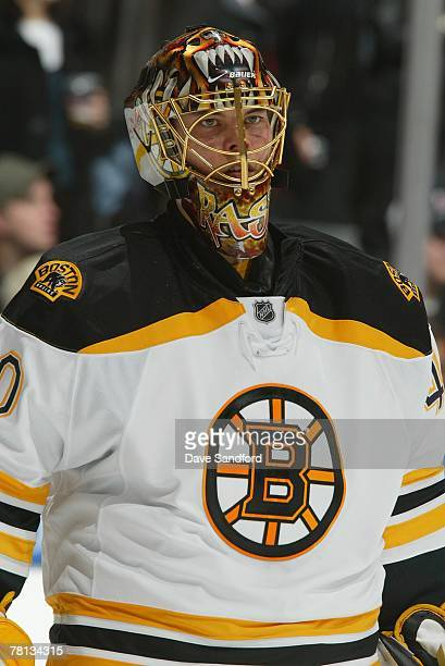 Tuukka Rask of the Boston Bruins looks on against the Toronto Maple Leafs at Air Canada Centre on November 20 2007 in Toronto Ontario Canada