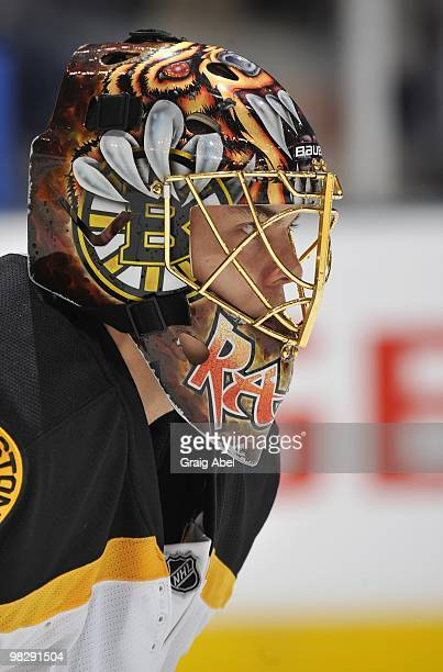 Tuukka Rask of the Boston Bruins looks on during a break in the game against the Toronto Maple Leafs on April 3 2010 at the Air Canada Centre in...