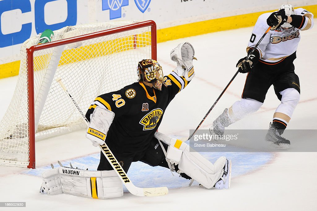 <a gi-track='captionPersonalityLinkClicked' href=/galleries/search?phrase=Tuukka+Rask&family=editorial&specificpeople=716723 ng-click='$event.stopPropagation()'>Tuukka Rask</a> #40 of the Boston Bruins makes a save against the Anaheim Ducks at the TD Garden on October 31, 2013 in Boston, Massachusetts.