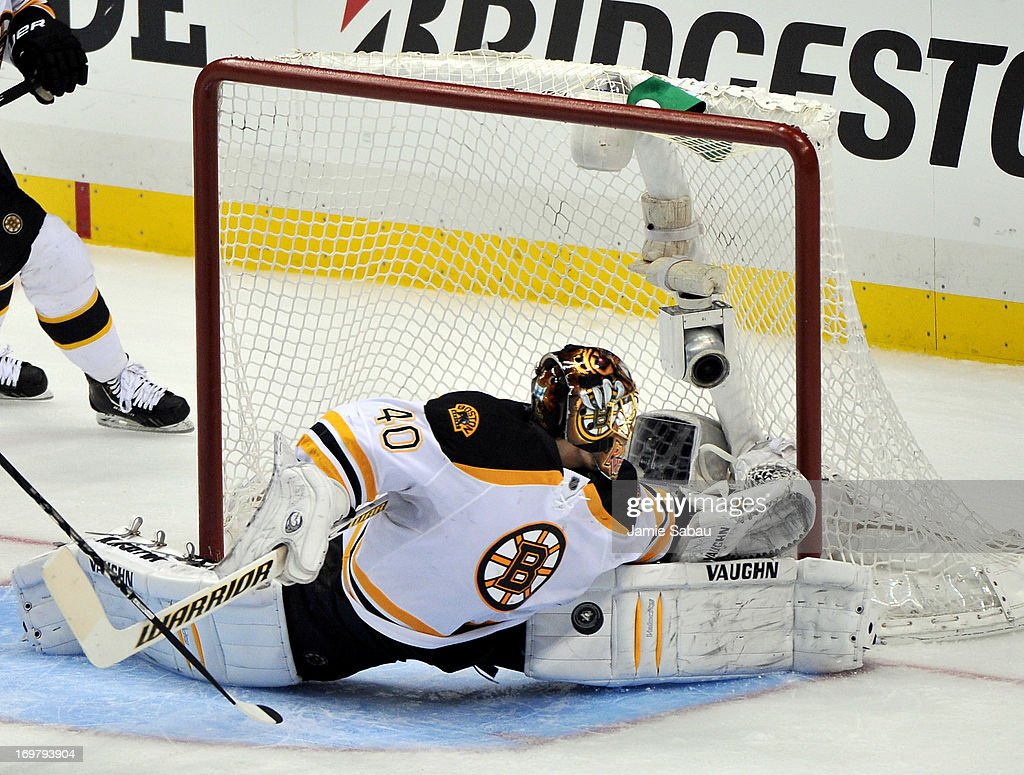 <a gi-track='captionPersonalityLinkClicked' href=/galleries/search?phrase=Tuukka+Rask&family=editorial&specificpeople=716723 ng-click='$event.stopPropagation()'>Tuukka Rask</a> #40 of the Boston Bruins makes a save against the Pittsburgh Penguins during Game One of the Eastern Conference Final of the 2013 NHL Stanley Cup Playoffs at the Consol Energy Center on June 1, 2013 in Pittsburgh, Pennsylvania.