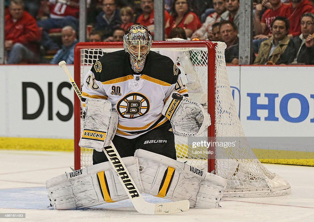 <a gi-track='captionPersonalityLinkClicked' href=/galleries/search?phrase=Tuukka+Rask&family=editorial&specificpeople=716723 ng-click='$event.stopPropagation()'>Tuukka Rask</a> #40 of the Boston Bruins makes a save during the first period against the Detroit Red Wings during Game Three of the First Round of the 2014 NHL Stanley Cup Playoffs at Joe Louis Arena on April 22, 2014 in Detroit, Michigan. The Bruins defeated the Wings 3-0.