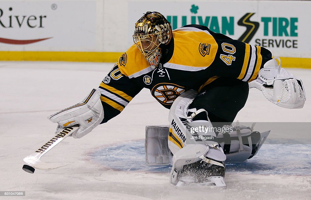 Tuukka Rask #40 of the Boston Bruins makes a save in the second period against the Edmonton Oilers at TD Garden on January 5, 2017 in Boston, Massachusetts. The Oilers won 4-3.