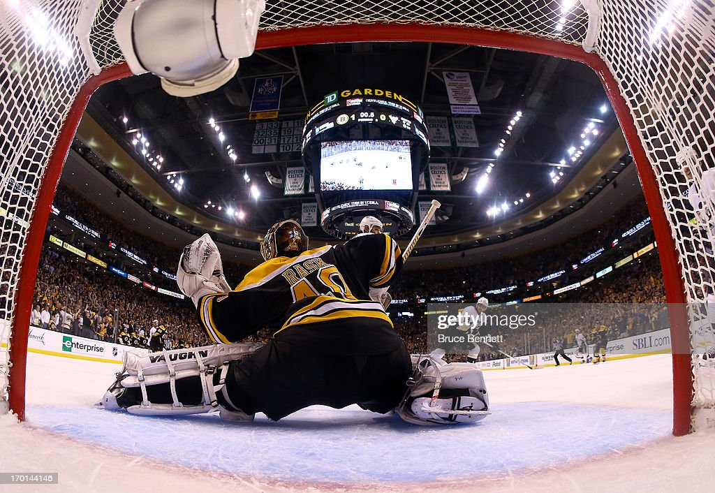 Tuukka Rask #40 of the Boston Bruins makes a save in the third period against the Pittsburgh Penguins in Game Four of the Eastern Conference Final during the 2013 Stanley Cup Playoffs at TD Garden on June 7, 2013 in Boston, Massachusetts.