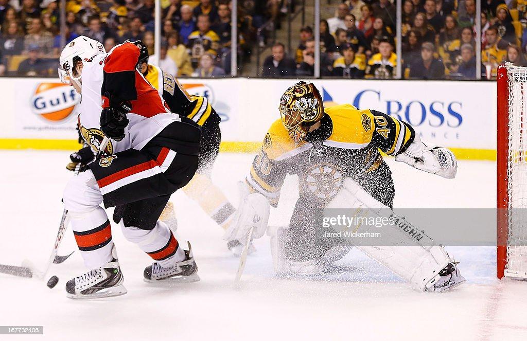 Tuukka Rask #40 of the Boston Bruins makes a save on goal against the Ottawa Senators during the game on April 28, 2013 at TD Garden in Boston, Massachusetts.