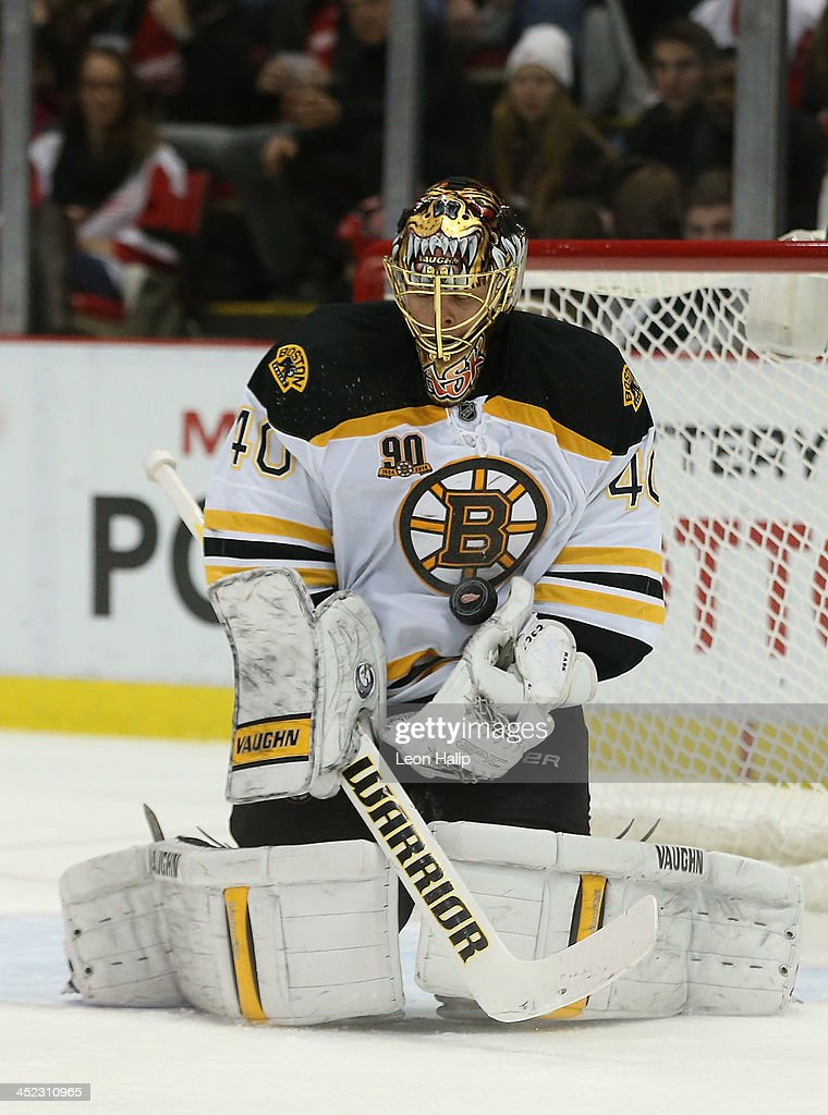 <a gi-track='captionPersonalityLinkClicked' href=/galleries/search?phrase=Tuukka+Rask&family=editorial&specificpeople=716723 ng-click='$event.stopPropagation()'>Tuukka Rask</a> #44 of the Boston Bruins makes the save during the second period of the game against the Detroit Red Wings at Joe Louis Arena on November 27, 2013 in Detroit, Michigan. The Red Wings defeated the Bruins 6-1.