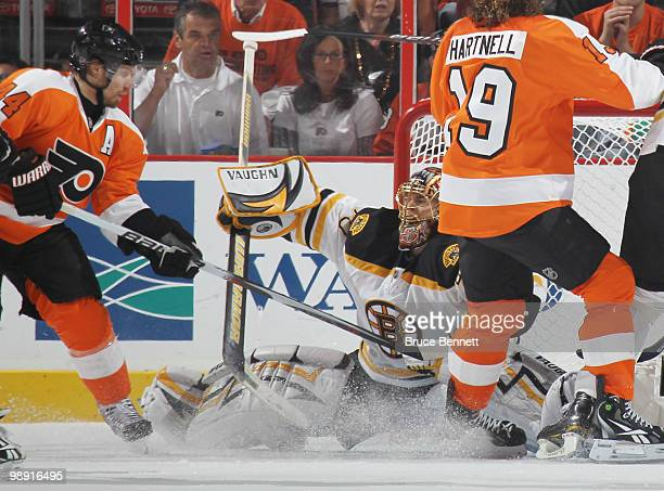 Tuukka Rask of the Boston Bruins makes the save on Kimmo Timonen of the Philadelphia Flyers in Game Four of the Eastern Conference Semifinals during...