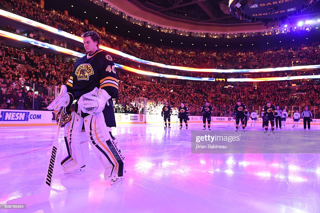 <a gi-track='captionPersonalityLinkClicked' href=/galleries/search?phrase=Tuukka+Rask&family=editorial&specificpeople=716723 ng-click='$event.stopPropagation()'>Tuukka Rask</a> #40 of the Boston Bruins on the ice for the national anthem before the game against the Buffalo Sabres at the TD Garden on February 6, 2016 in Boston, Massachusetts.