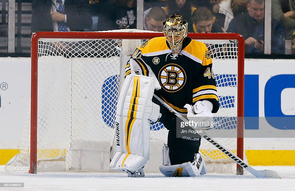 Tuukka Rask #40 of the Boston Bruins reacts after allowing two goals in the third period against the Edmonton Oilers at TD Garden on January 5, 2017 in Boston, Massachusetts. The Oilers won 4-3.
