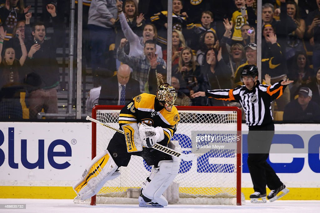 <a gi-track='captionPersonalityLinkClicked' href=/galleries/search?phrase=Tuukka+Rask&family=editorial&specificpeople=716723 ng-click='$event.stopPropagation()'>Tuukka Rask</a> #40 of the Boston Bruins reacts after saving a shot by <a gi-track='captionPersonalityLinkClicked' href=/galleries/search?phrase=Nazem+Kadri&family=editorial&specificpeople=4043234 ng-click='$event.stopPropagation()'>Nazem Kadri</a> #43 of the Toronto Maple Leafs winning the game for the Boston Bruins during a shootout at TD Garden on April 4, 2015 in Boston, Massachusetts. The Bruins defeat the Maple Leafs 2-1.