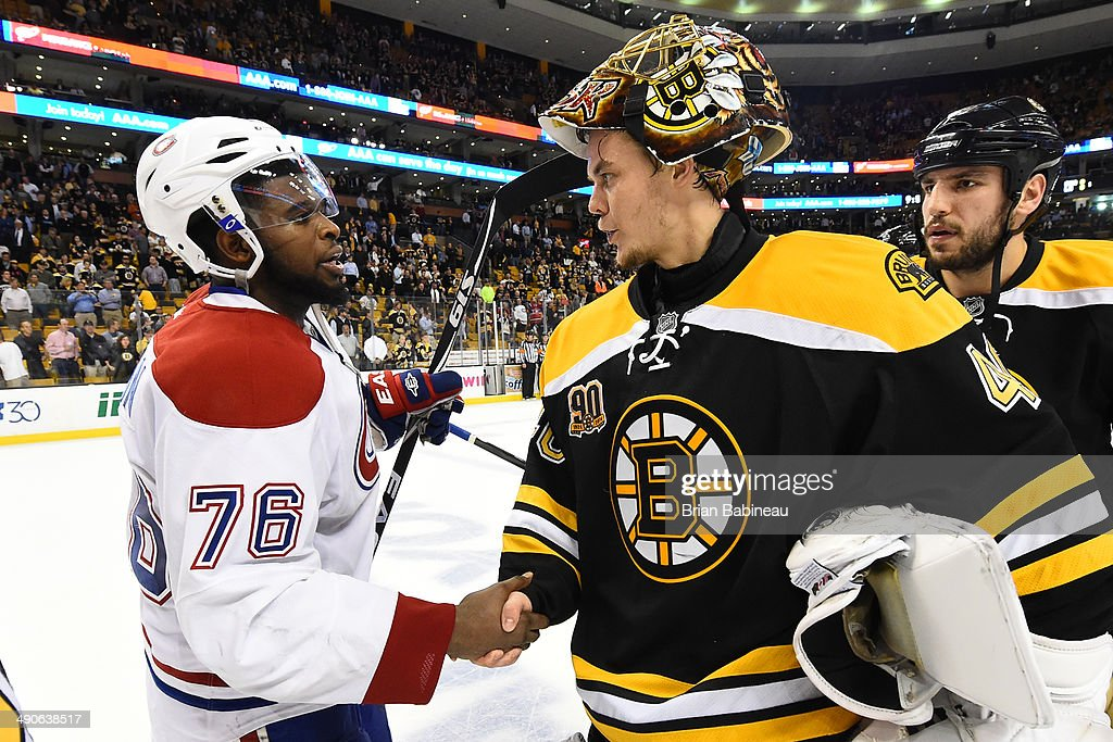 <a gi-track='captionPersonalityLinkClicked' href=/galleries/search?phrase=Tuukka+Rask&family=editorial&specificpeople=716723 ng-click='$event.stopPropagation()'>Tuukka Rask</a> #40 of the Boston Bruins shakes hands with <a gi-track='captionPersonalityLinkClicked' href=/galleries/search?phrase=P.K.+Subban&family=editorial&specificpeople=714418 ng-click='$event.stopPropagation()'>P.K. Subban</a> #76 of the Montreal Canadiens in Game Seven of the Second Round of the 2014 Stanley Cup Playoffs at TD Garden on May 14, 2014 in Boston, Massachusetts.
