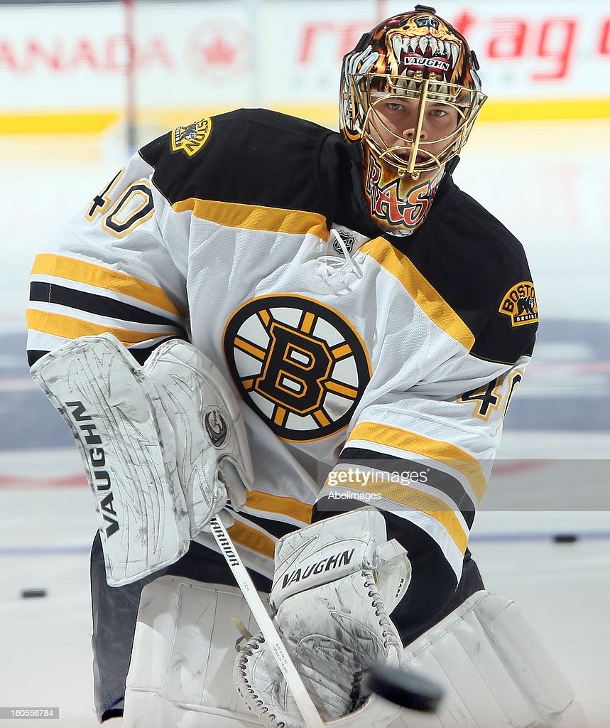 Tuukka Rask #40 of the Boston Bruins shoots during warmup before NHL action against the Toronto Maple Leafs at the Air Canada Centre February 2, 2013 in Toronto, Ontario, Canada.