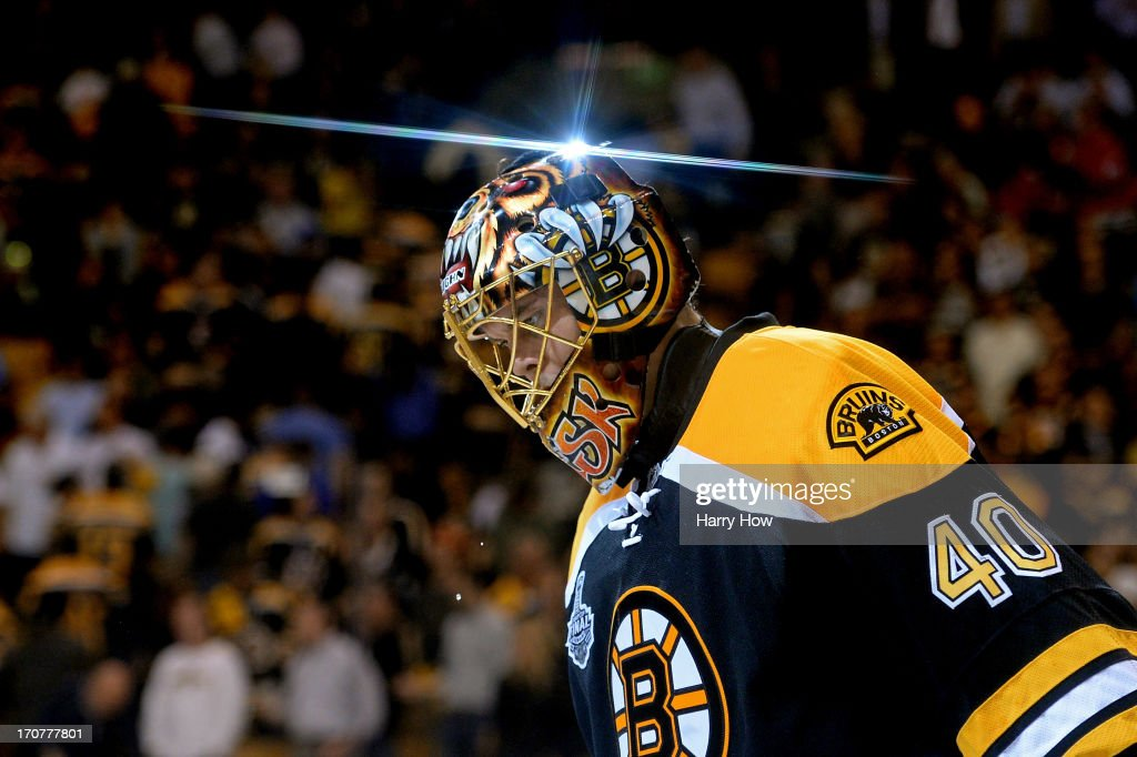 Tuukka Rask #40 of the Boston Bruins skates off the ice after defeating the Chicago Blackhawks 2-0 in Game Three of the 2013 NHL Stanley Cup Final at TD Garden on June 17, 2013 in Boston, Massachusetts.