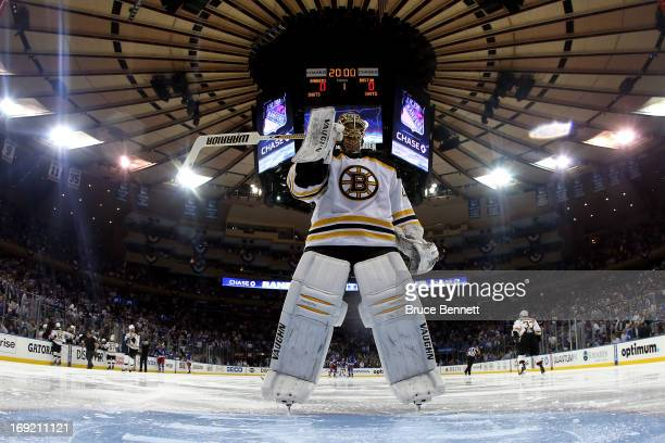 Tuukka Rask of the Boston Bruins skates to the net during a break against the New York Rangers in Game Three of the Eastern Conference Semifinals...