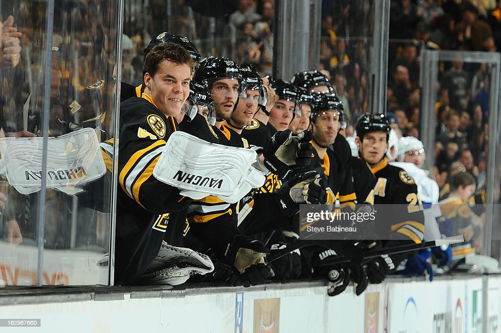 <a gi-track='captionPersonalityLinkClicked' href=/galleries/search?phrase=Tuukka+Rask&family=editorial&specificpeople=716723 ng-click='$event.stopPropagation()'>Tuukka Rask</a> #40 of the Boston Bruins smiles after his team scores a goal against the Tampa Bay Lightning at the TD Garden on March 2, 2013 in Boston, Massachusetts.